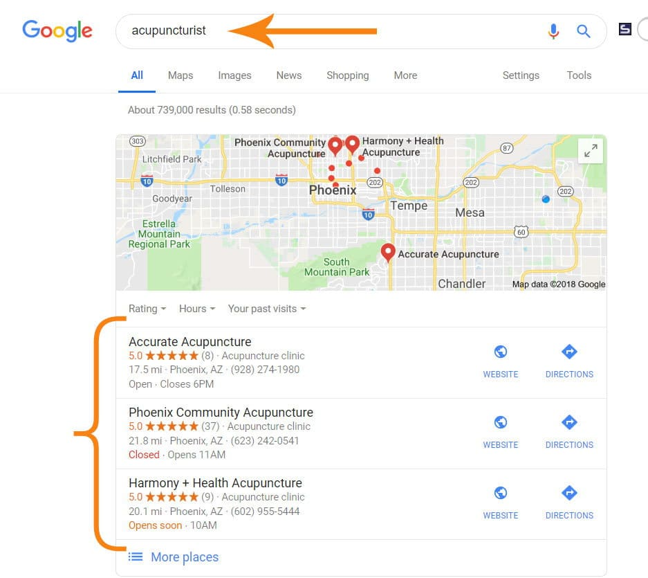 An example of Google's Local 3-Pack