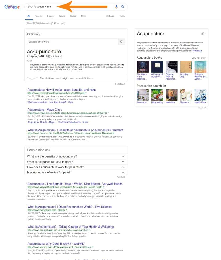 Google search example without local intent