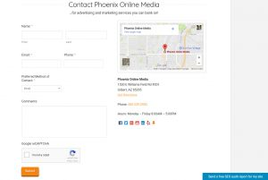 Image of Phoenix Online Media contact form