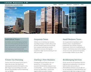 View of Singer Tax home page, showing large commercial building and services content