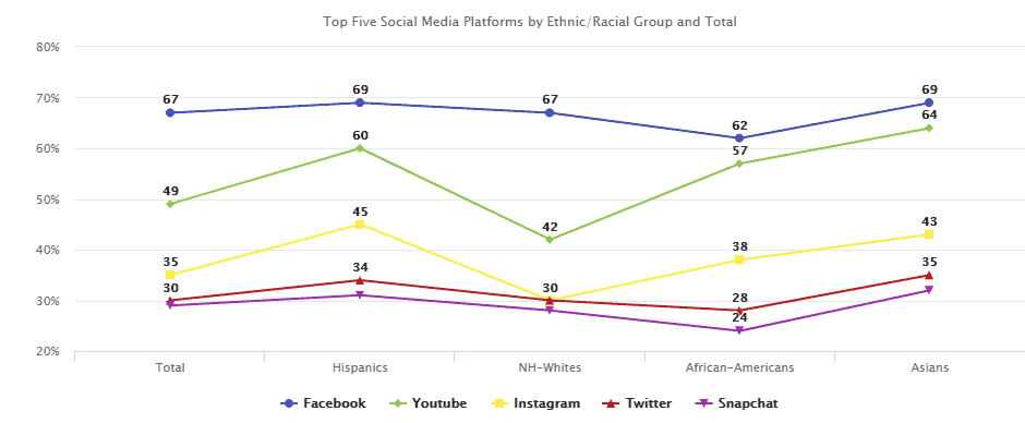 Graph of social media platform by ethnic group, Phoenix Online Media