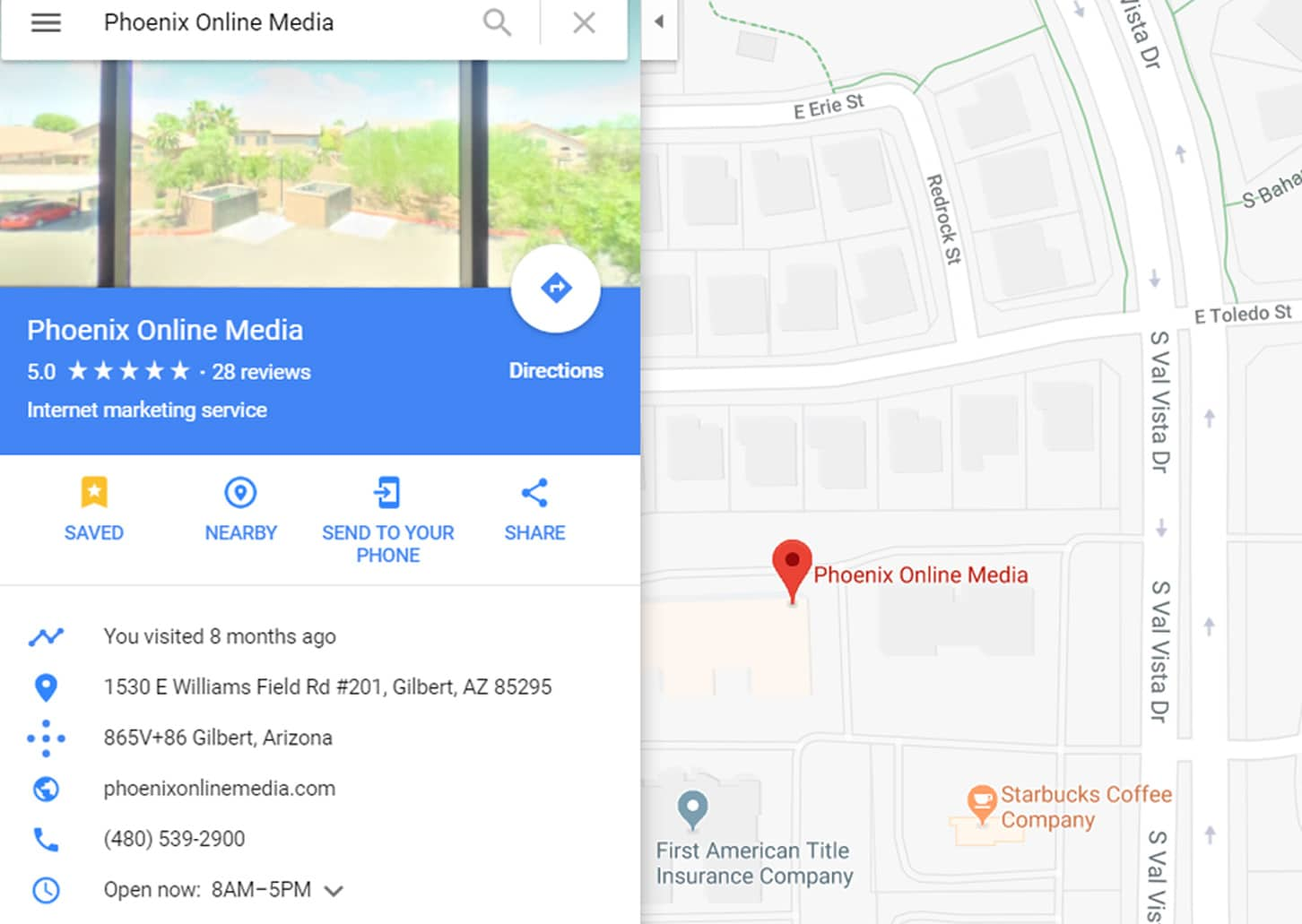An example of a business on Google Maps using ours as an example.