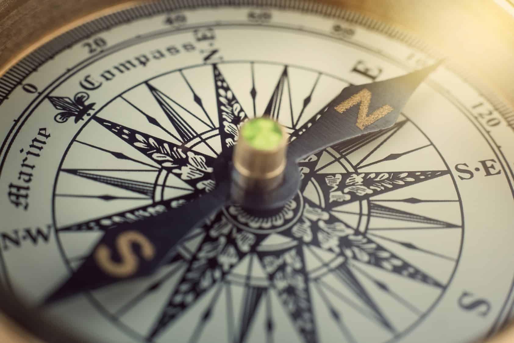 Sepia toned compass
