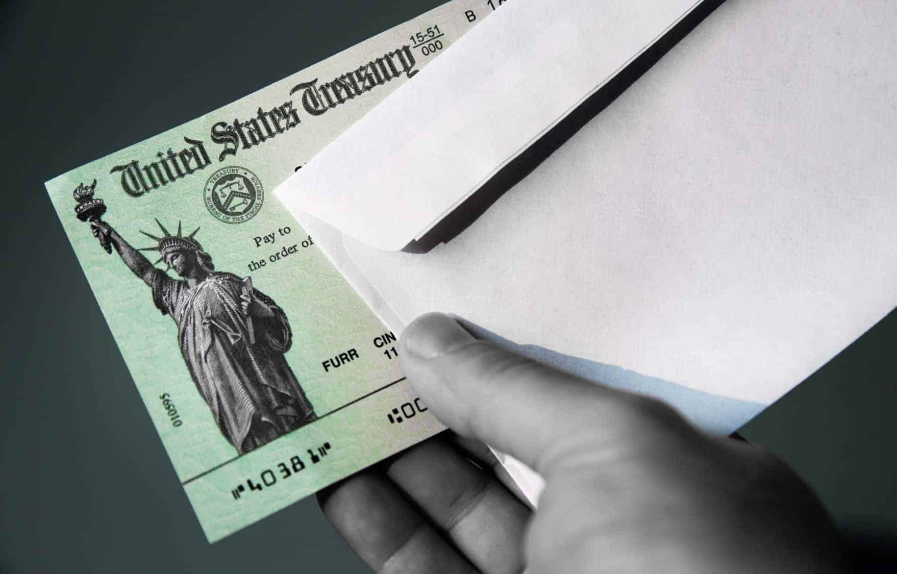 US treasury check and envelope