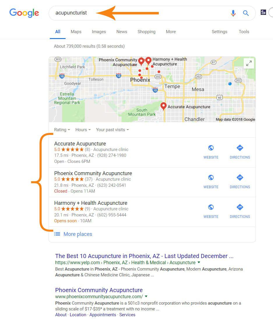 Example of a Google Local Search for Acupuncturist in Phoenix, Arizona