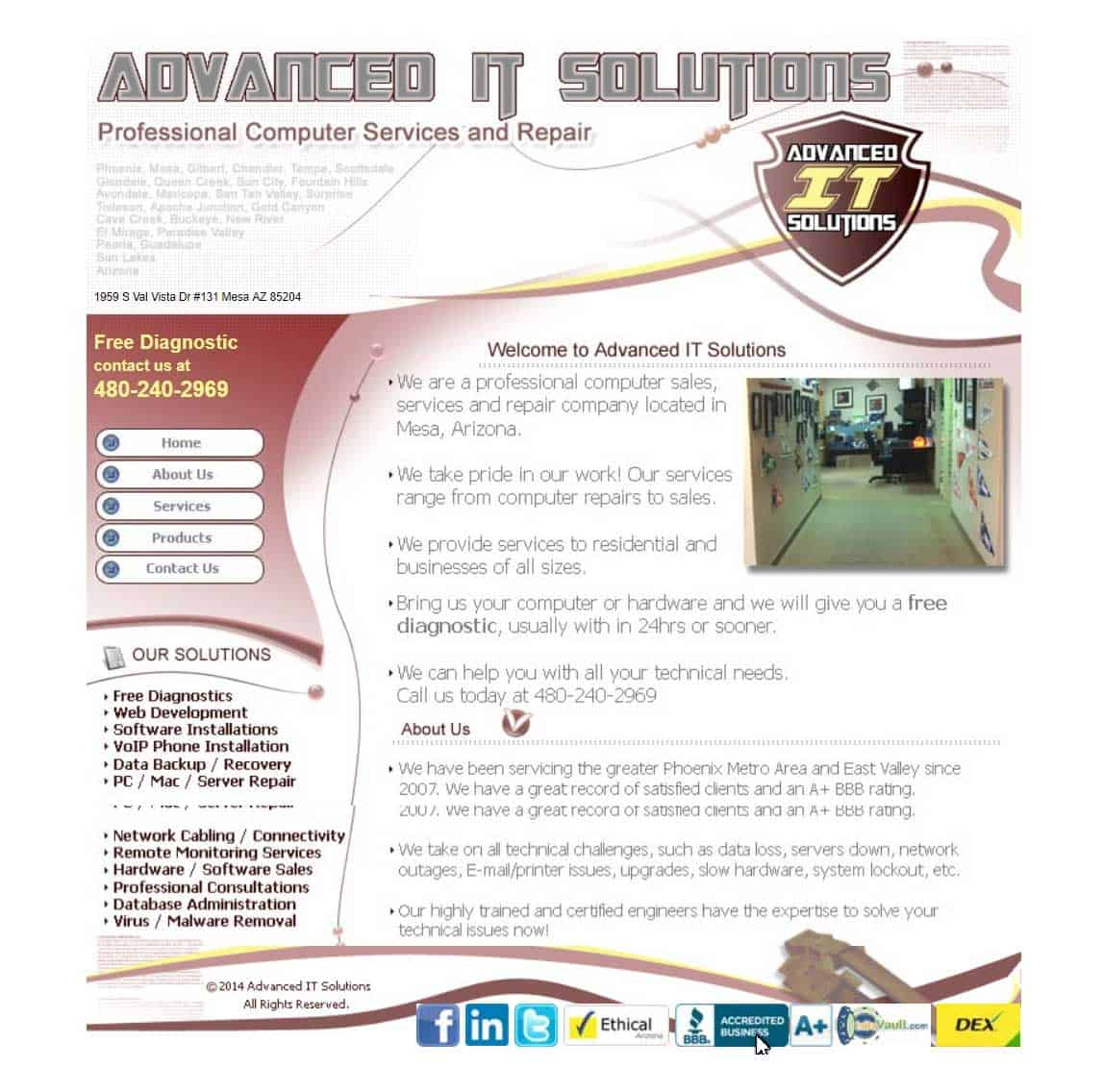 Advanced IT Solutions initial website