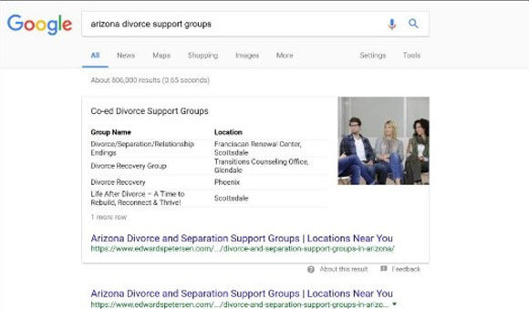 arizona divorce groups search result page