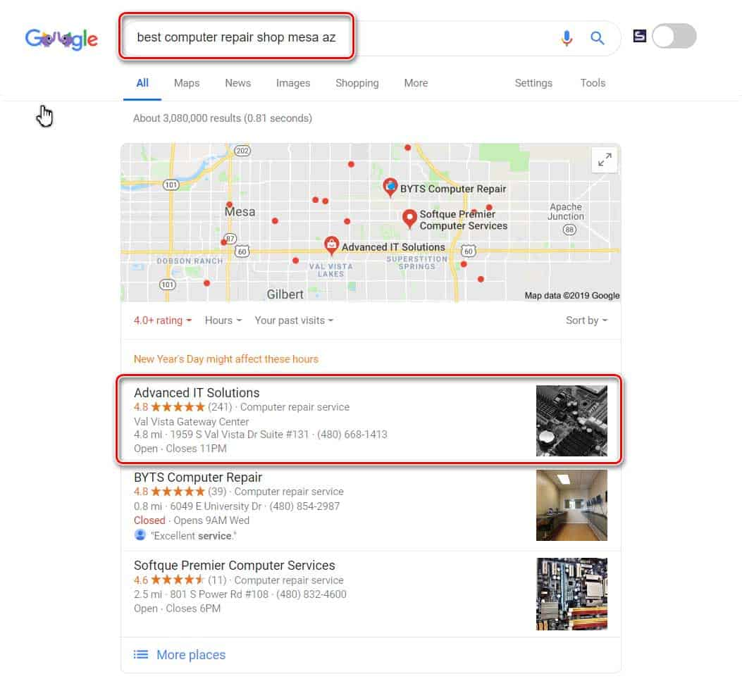 Local search result for best computer repair shop