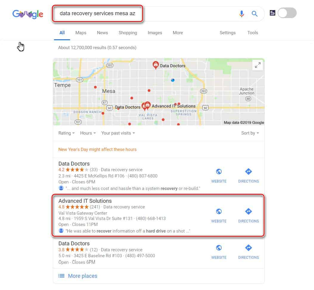 Local search result for keyword data recovery mesa az