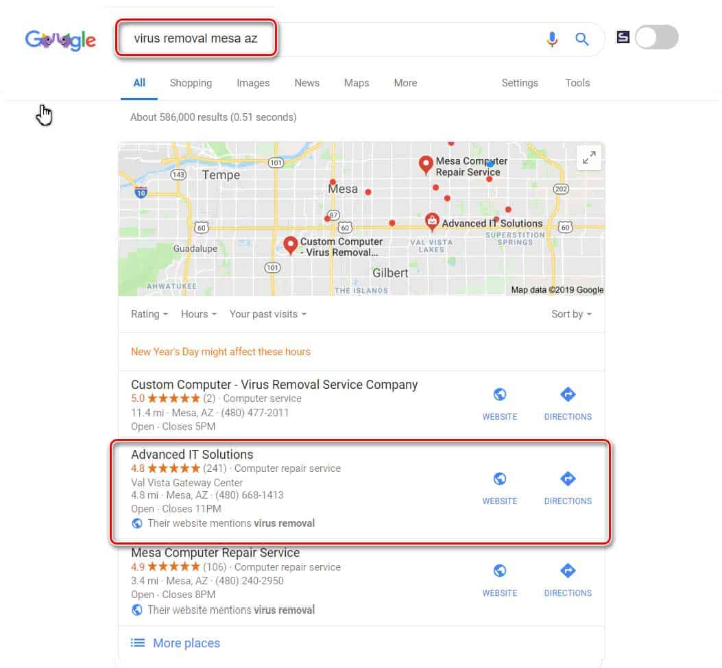 Local search result for virus removal