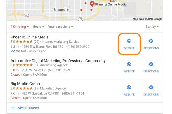 Website link for a listing in the Google Local 3-Pack